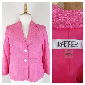 Kasper Plus Size Pink Linen Blend Blazer Jacket 16